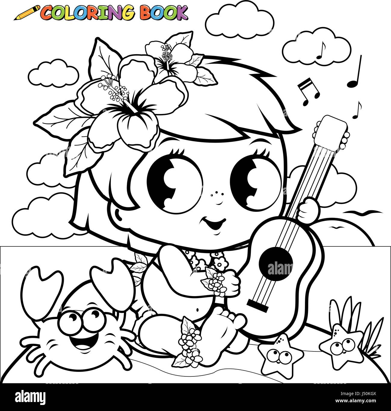 Hawaiian Baby Girl On An Island Playing The Ukulele Coloring Book