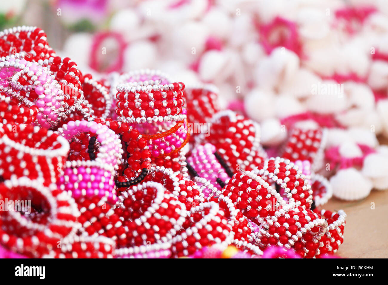 Traditional Bangladeshi bracelets exhibited in a local fair - Stock Image