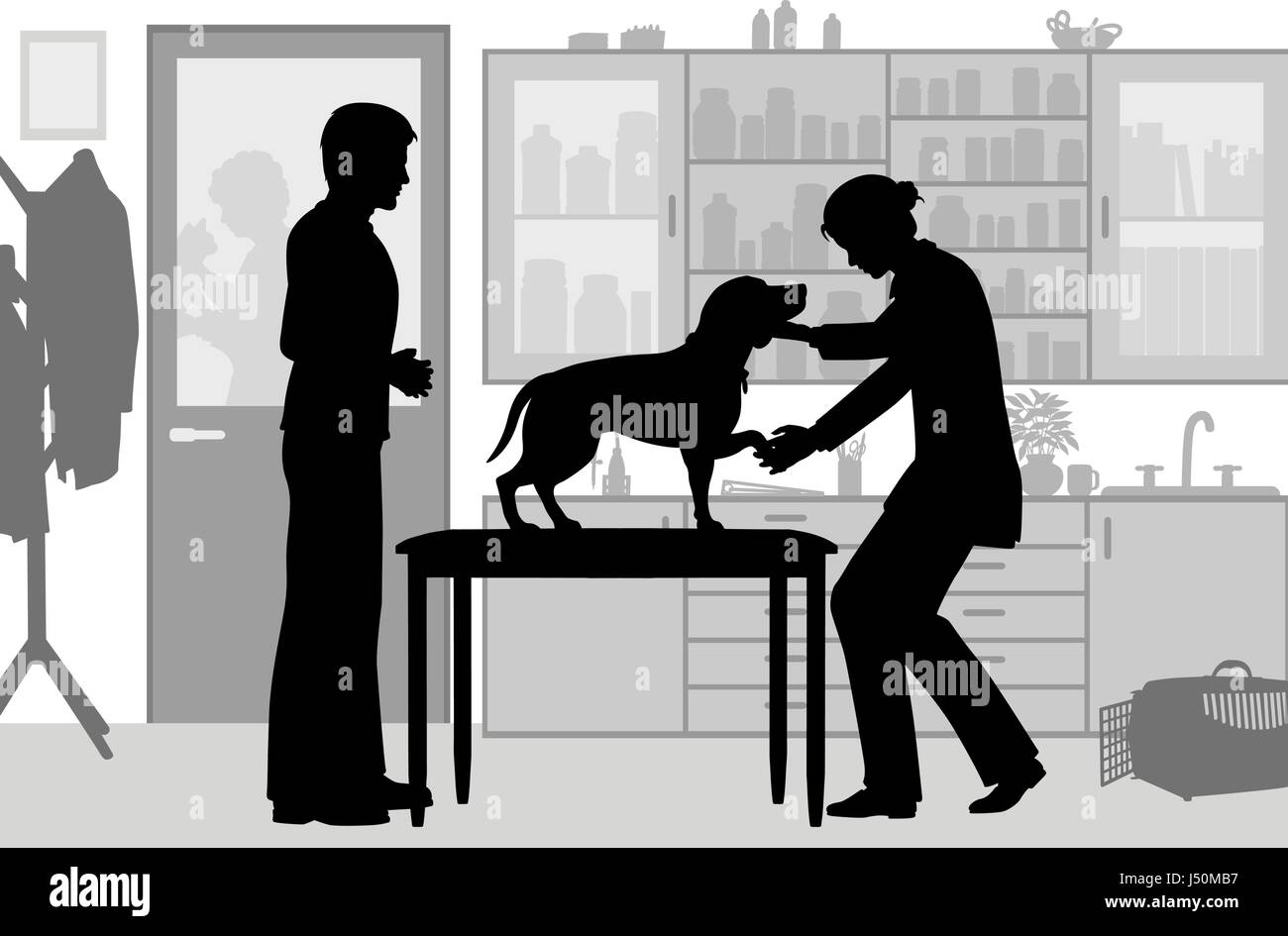 Editable vector silhouette of a female vet examining a pet dog with figures as separate objects - Stock Vector