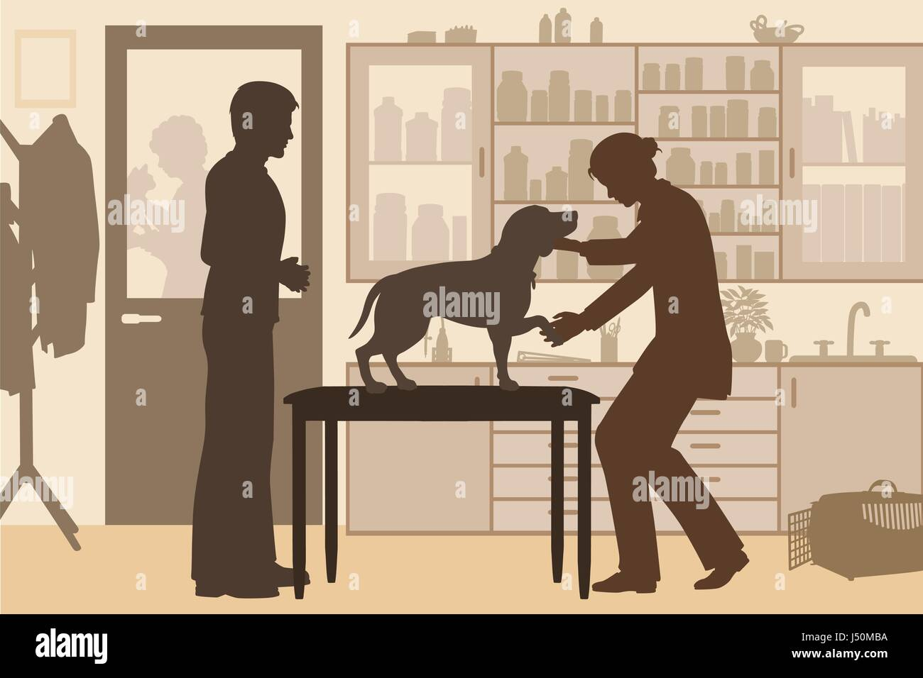 Editable vector silhouette of a female vet examining a pet dog with owner in a clinic - Stock Vector