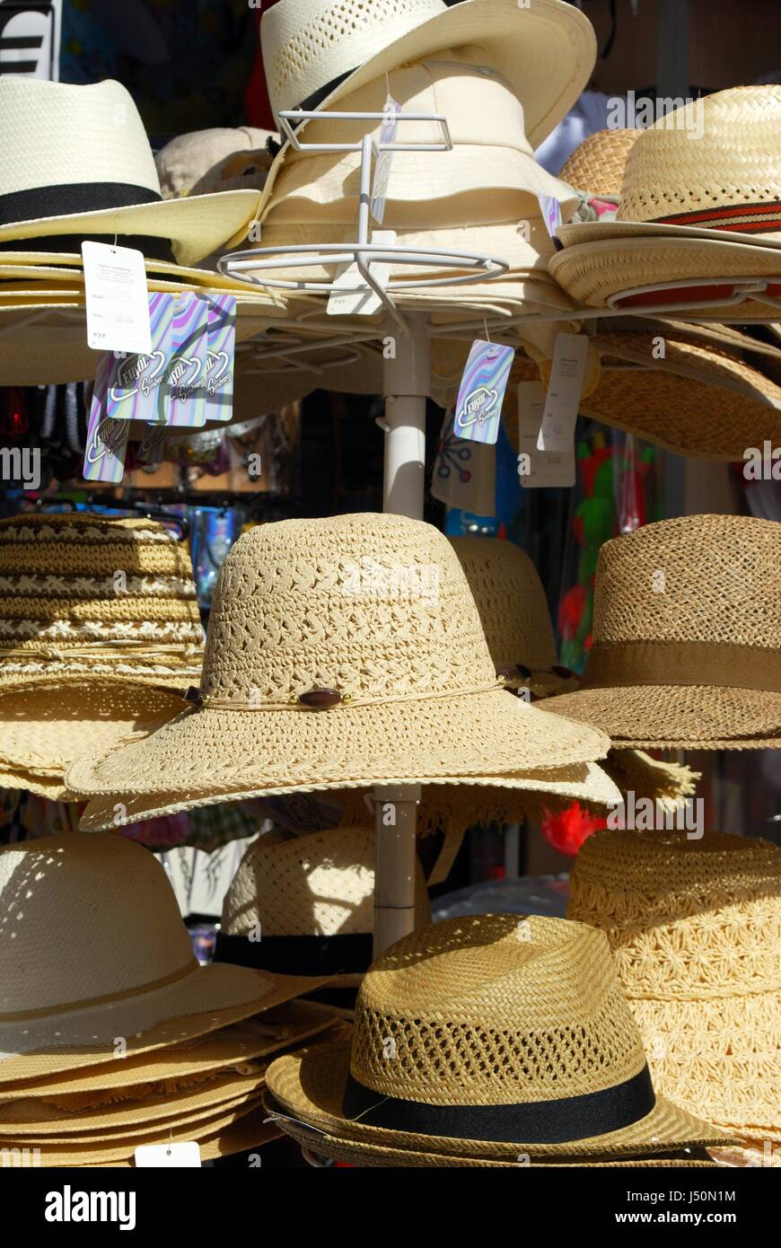 fcaa97ee447208 Straw sun hats for sale at a tourist shop, Torremolinos, Malaga Province,  Andalusia, Spain, Western Europe.