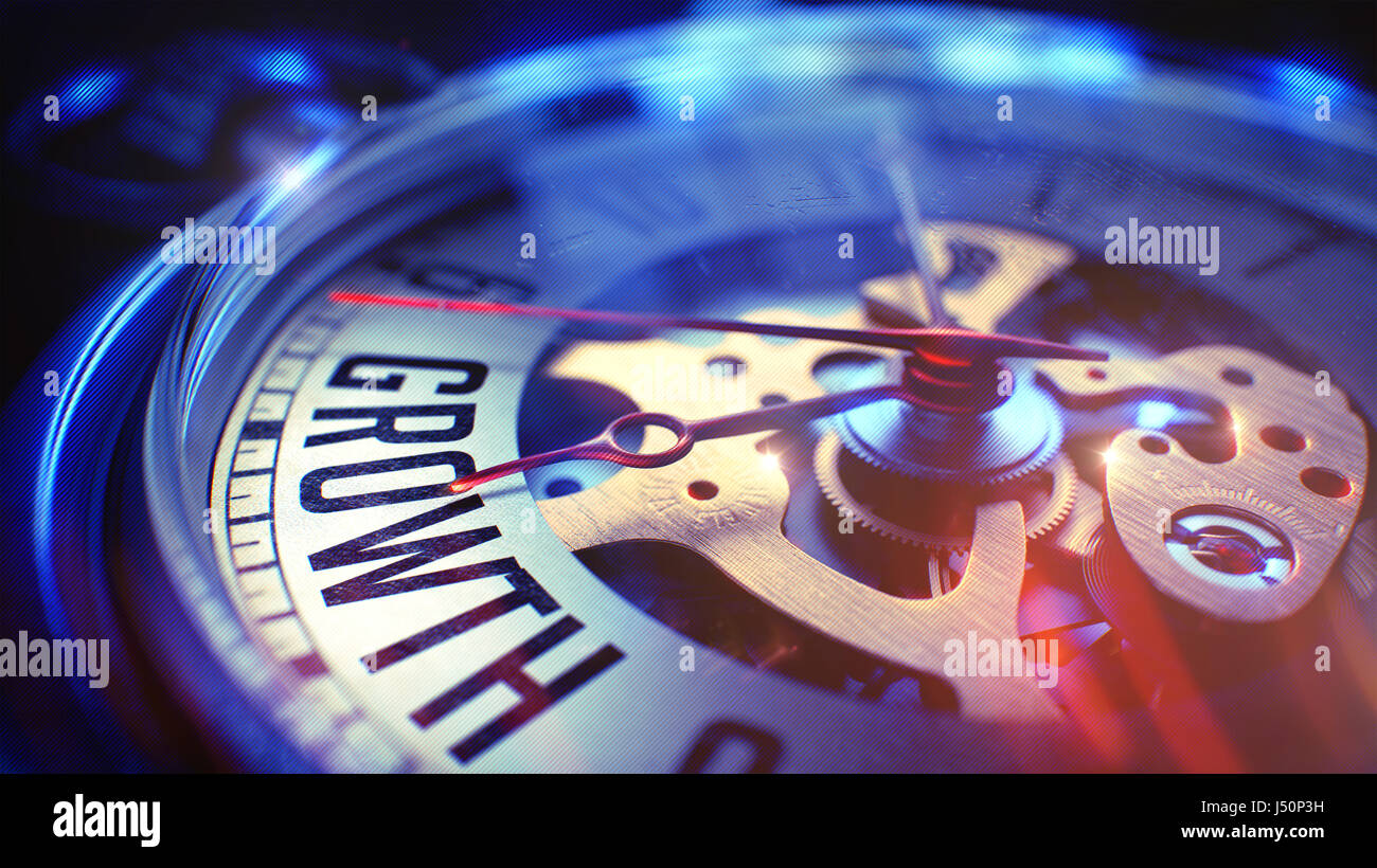Growth - Text on Vintage Pocket Watch. 3D. Stock Photo