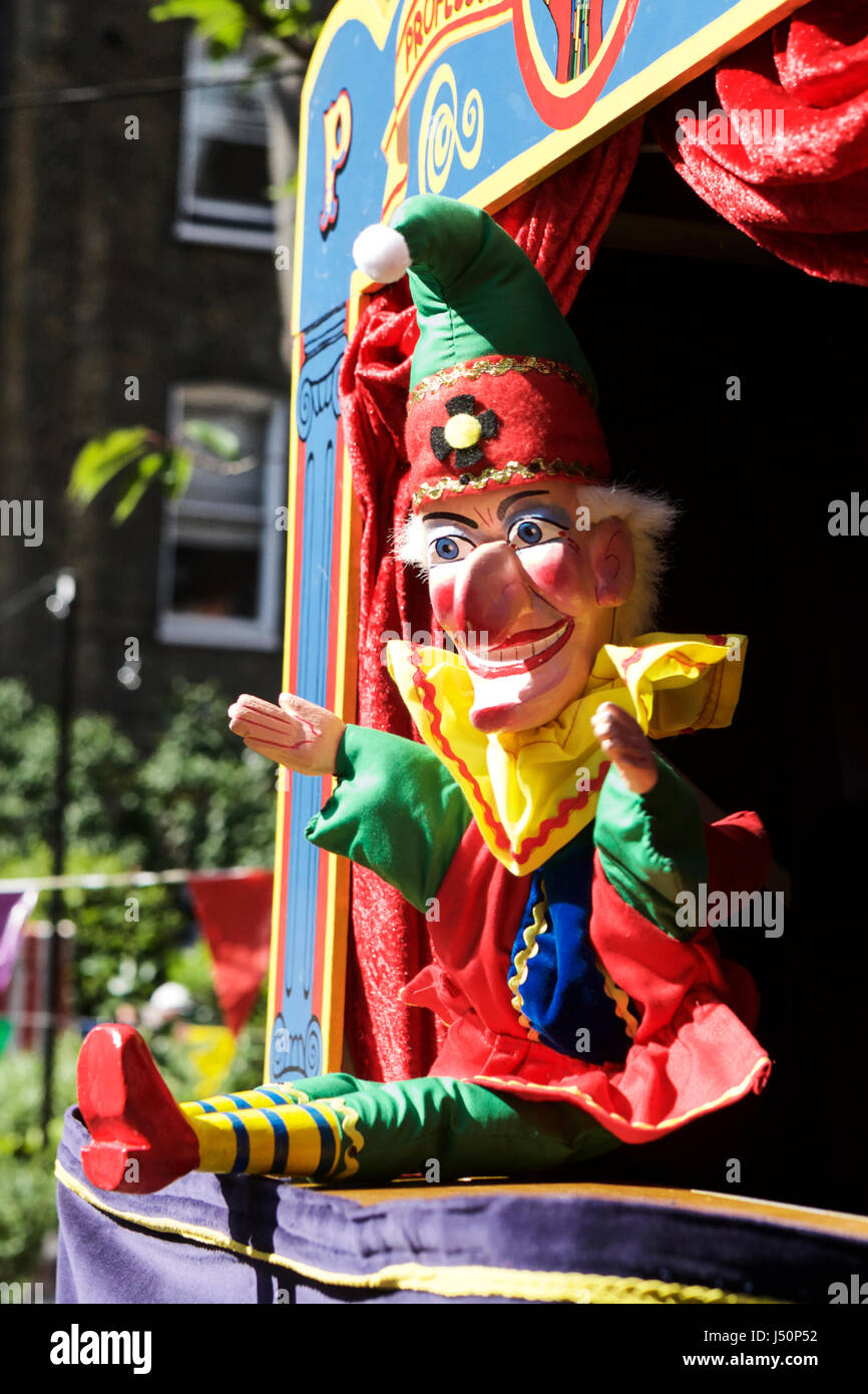 Punch and Judy puppets at the annual puppet show at Covent Garden London, UK. Puppet show. Punch and judy show. - Stock Image