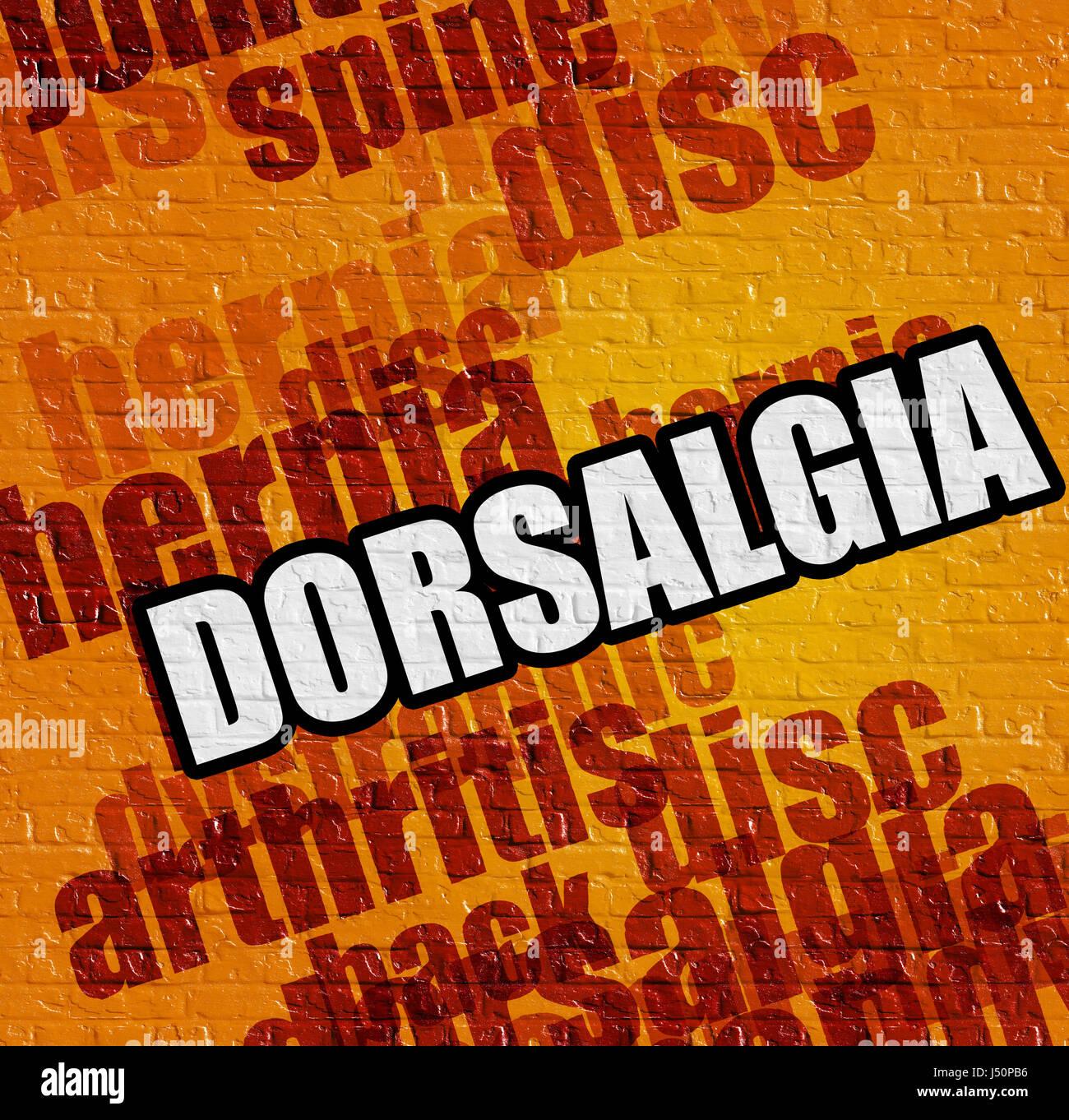 Modern medical concept: Dorsalgia on Yellow Brick Wall . - Stock Image