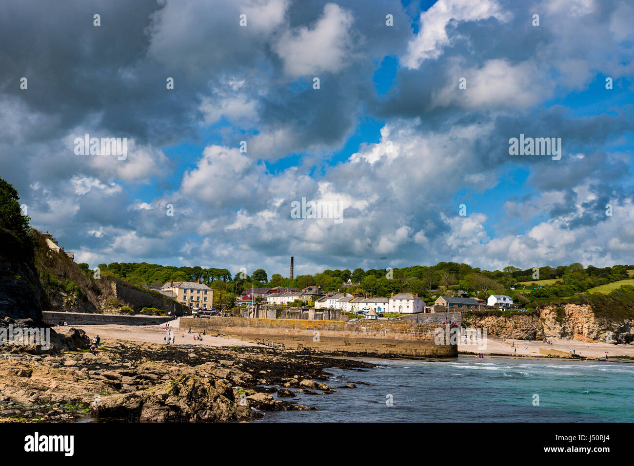 Various of and from Cornwall Charlestown Harbour - Stock Image
