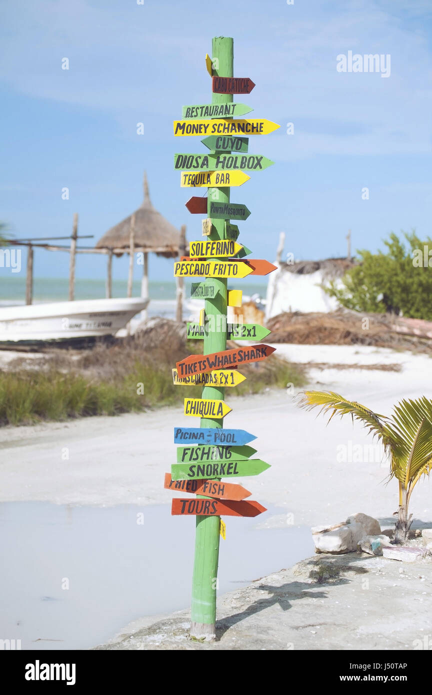 direction signs on a beach - Stock Image