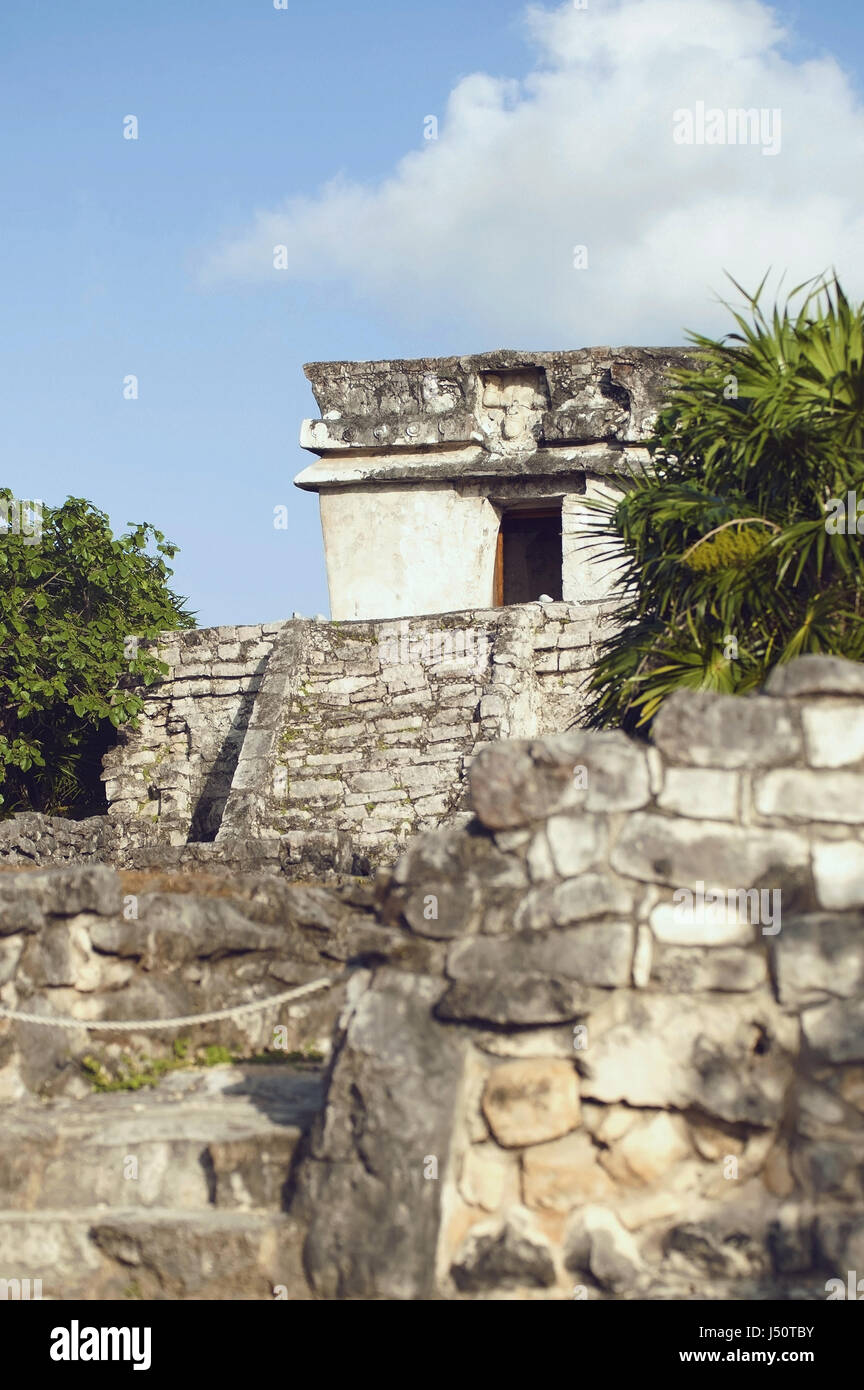 mexican mayan ruins in Tulum - Stock Image
