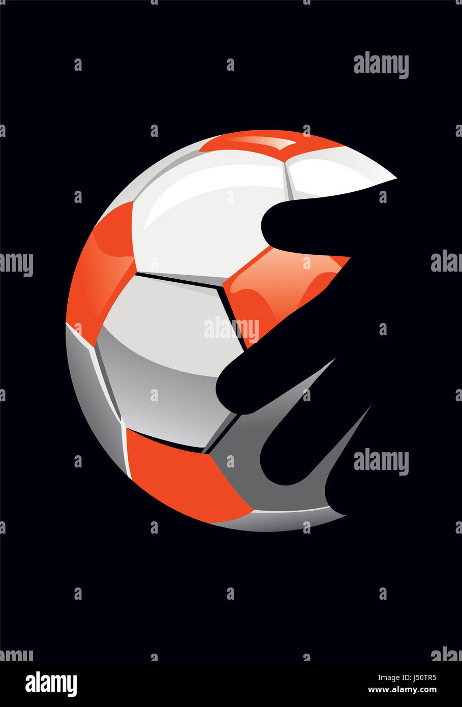 goalkeeper's hand and soccer ball on black background. - Stock Image