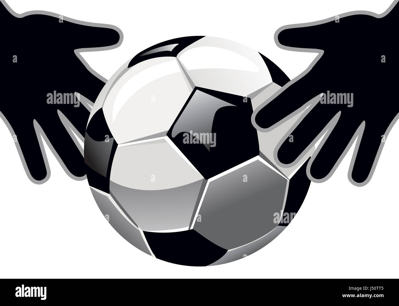 goalkeeper's hands and soccer ball isolated on white background. - Stock Image