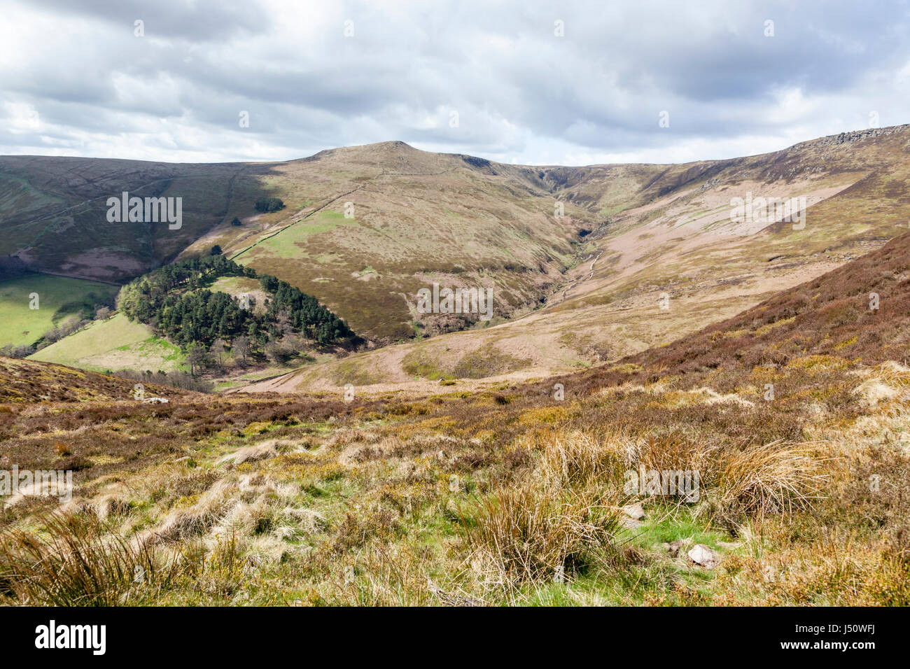 English countryside landscape: Grindsbrook Clough, on the southern edge of Kinder Scout, Derbyshire, in the Peak - Stock Image