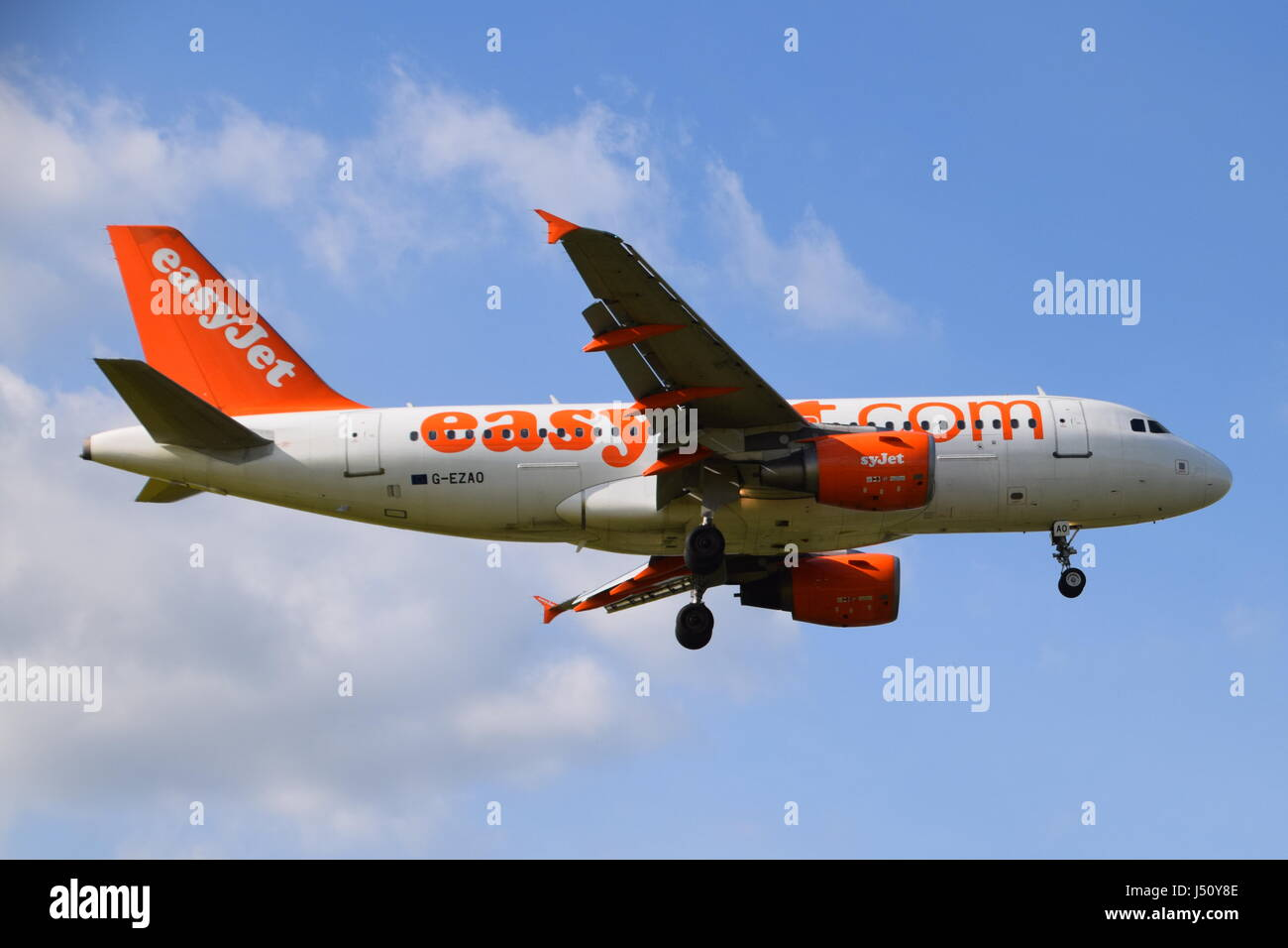 G-EZAO easyJet Airbus A319-100 - cn 2769 on final approach to London Gatwick airport LGW - Stock Image