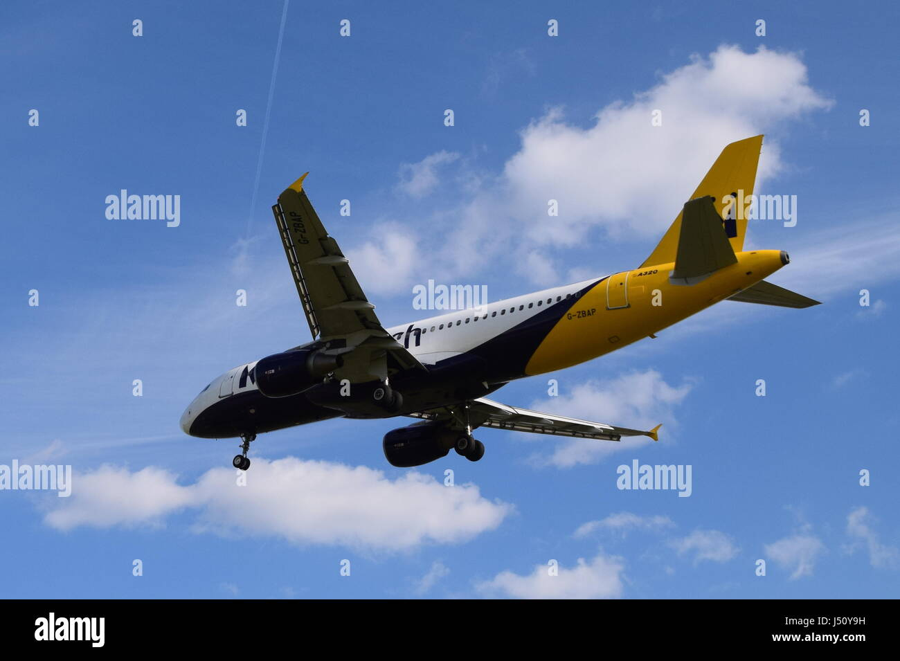 G-ZBAP Monarch Airlines Airbus A320-200 - cn 1605 on final approach to LGW London Gatwick airport - Stock Image