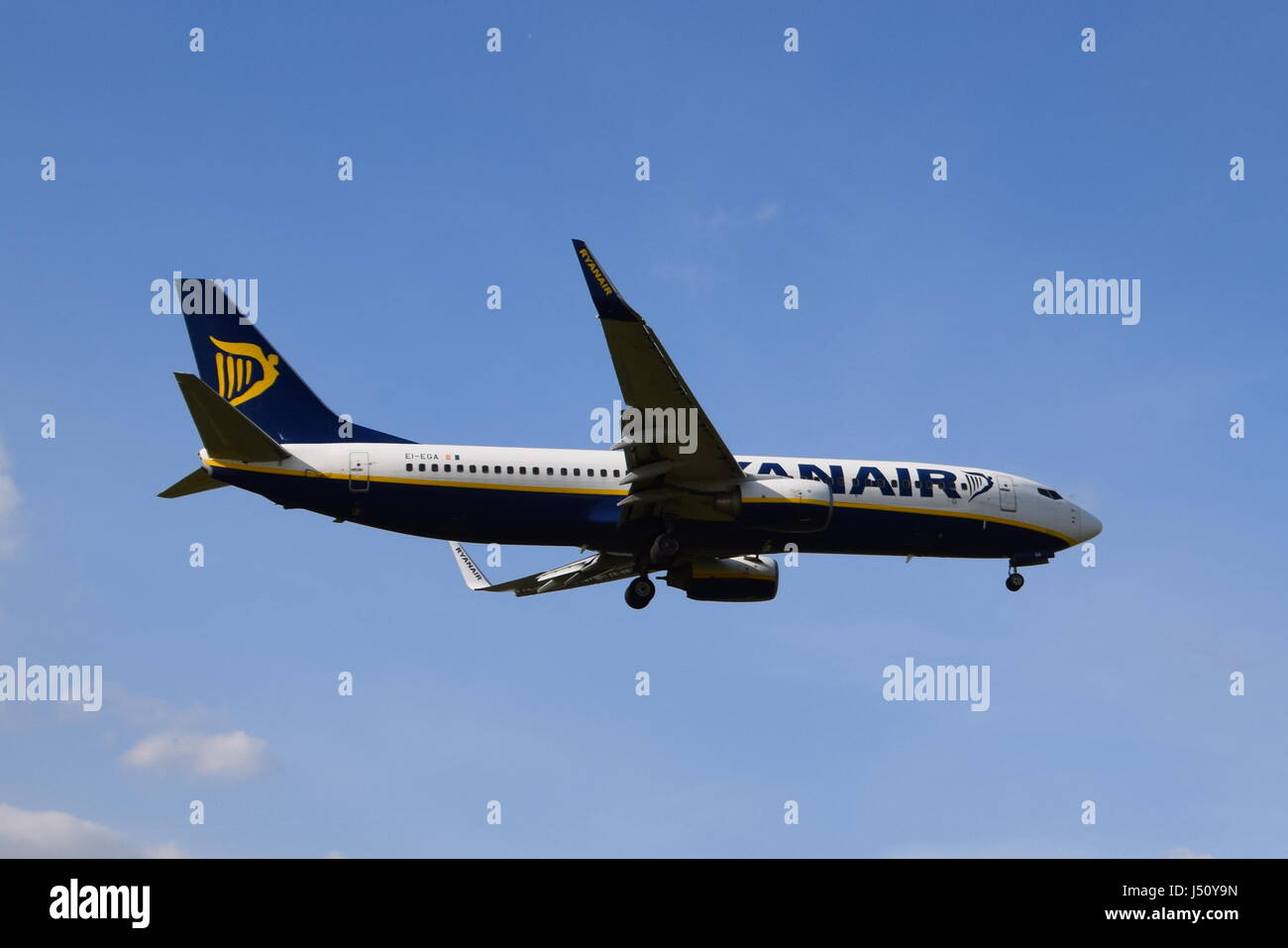 Ei-EGA RyanAir Boeing 737-8AS on final approach to LGW London Gatwick airport - Stock Image