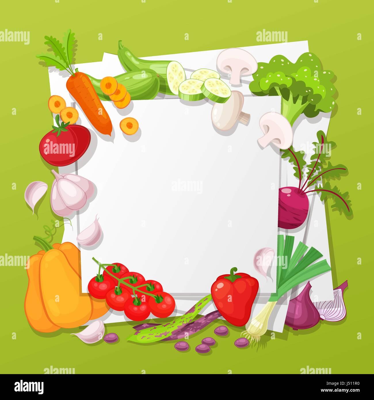 Vegetables top view frame. Farmers market menu design. Organic food poster. Vintage hand drawn sketch vector illustration. - Stock Vector