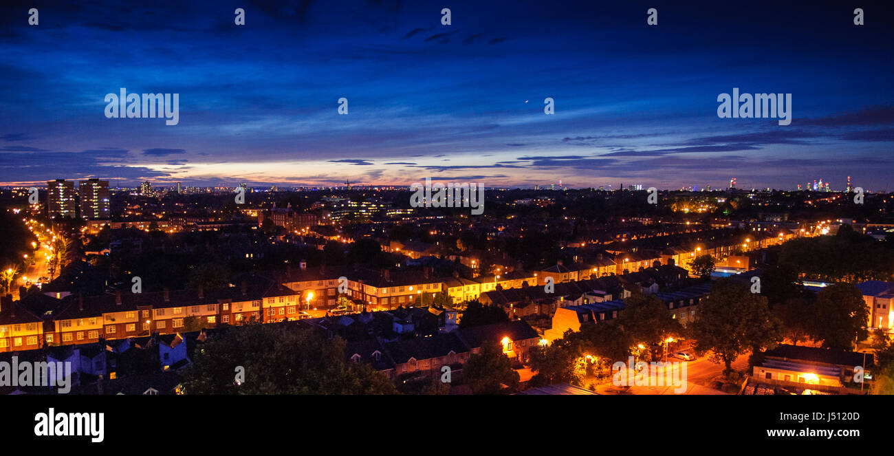 London, England - June 11, 2013: The London skyline and suburban streets looking out over Tooting. - Stock Image