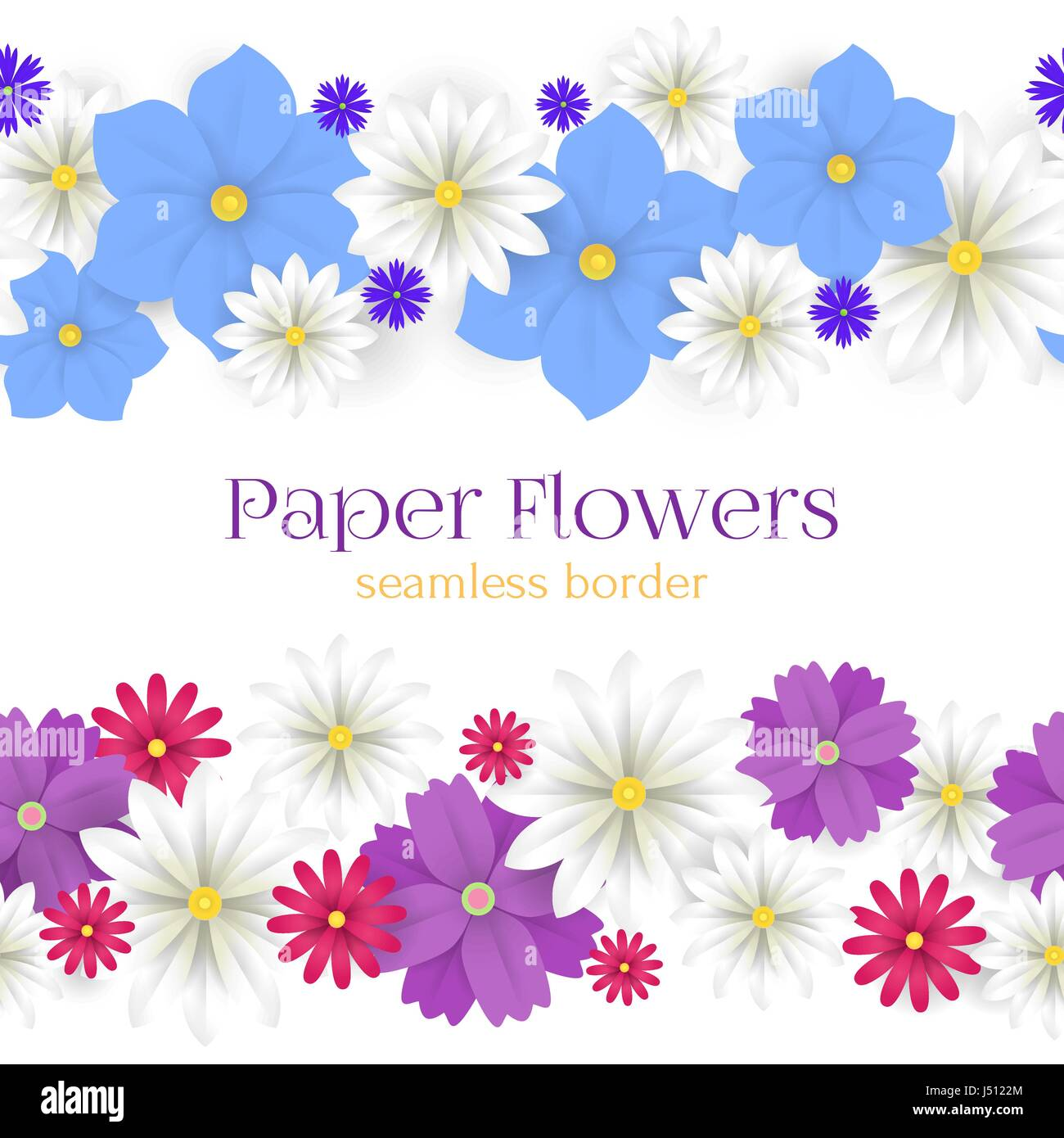 Colorful Vector Paper Flowers Horizontal Seamless Borders Stock