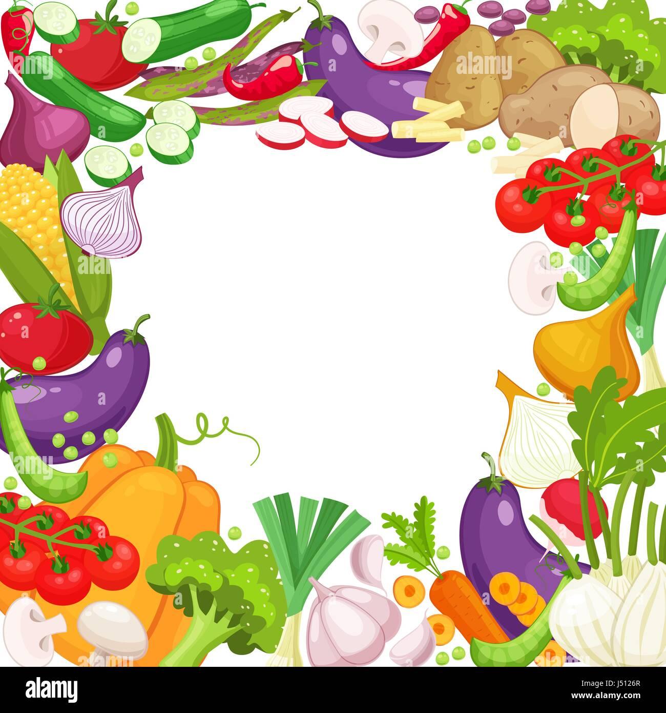 Vector frame of fresh vegetables for your design - Stock Vector