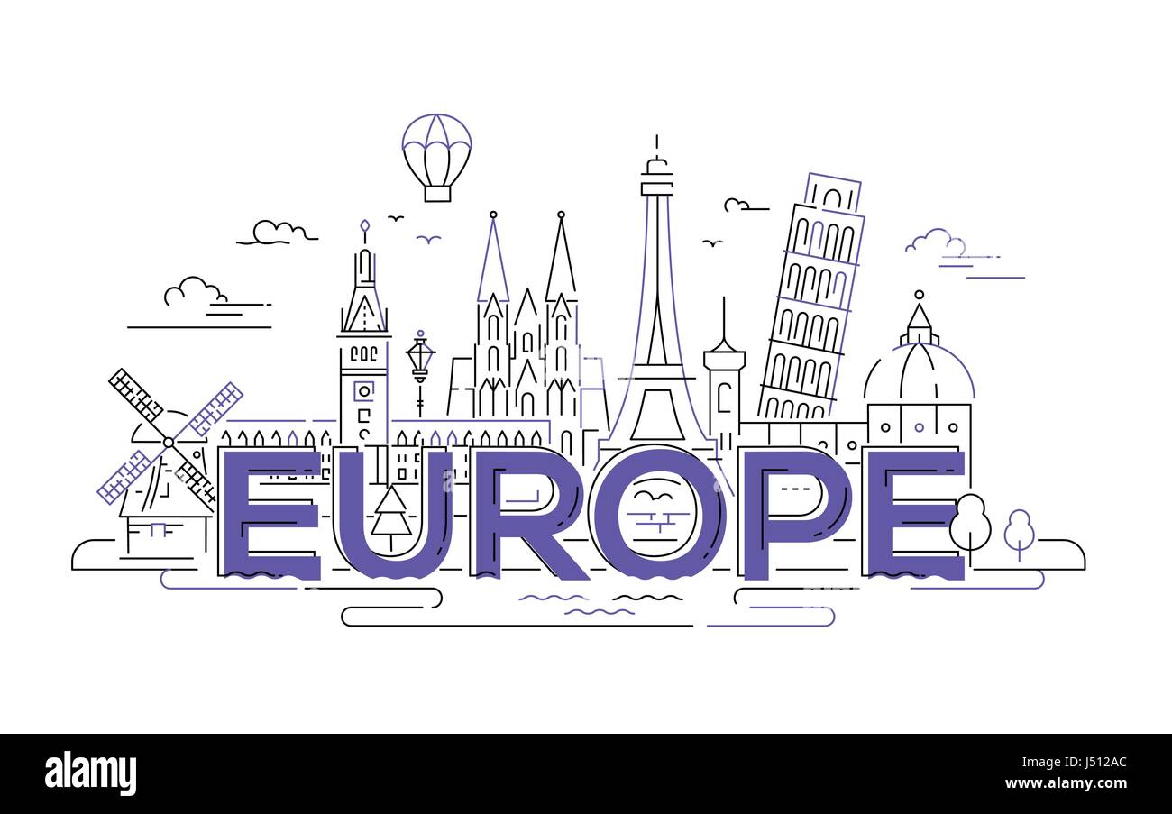 Europe - flat design composition with landmarks - Stock Image