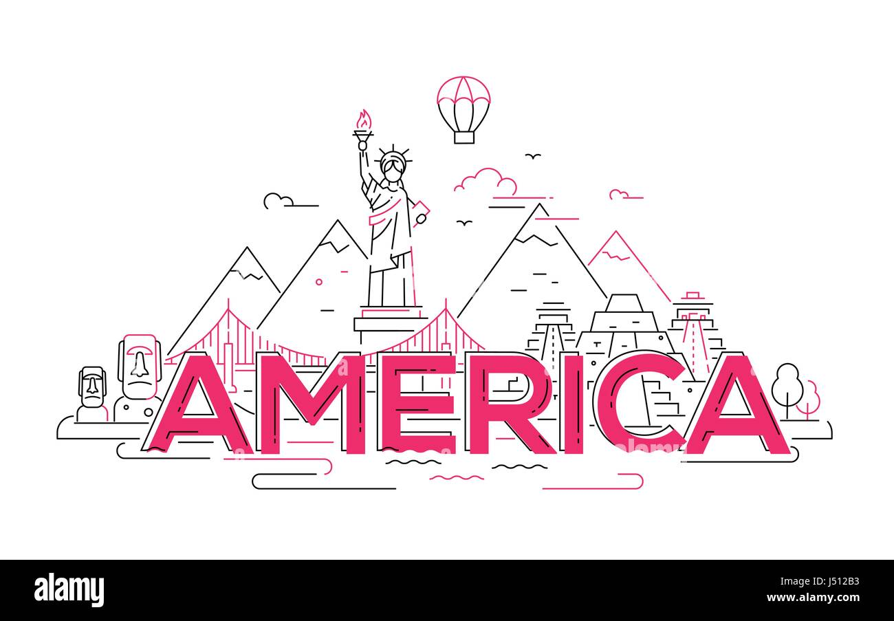 America - vector line travel illustration - Stock Vector