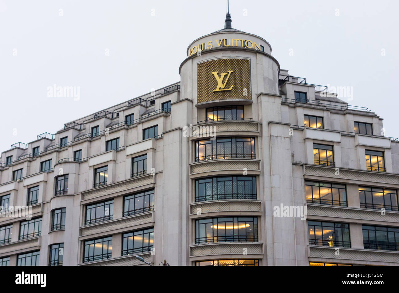 Louis Vuitton flagship store, 101 avenue Champs-Elysées, Paris, France - Stock Image