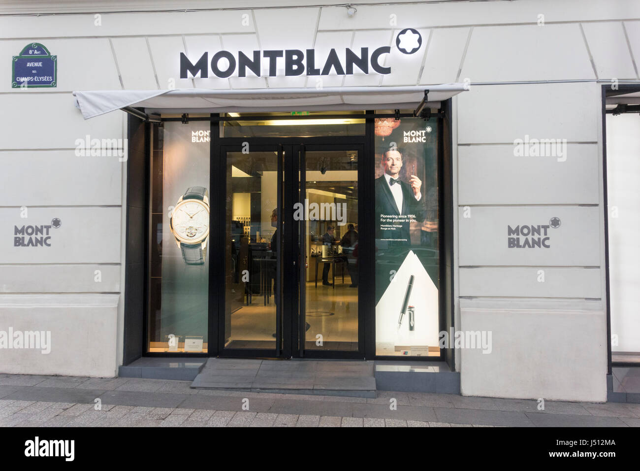 montblanc store champs elys es paris france stock. Black Bedroom Furniture Sets. Home Design Ideas