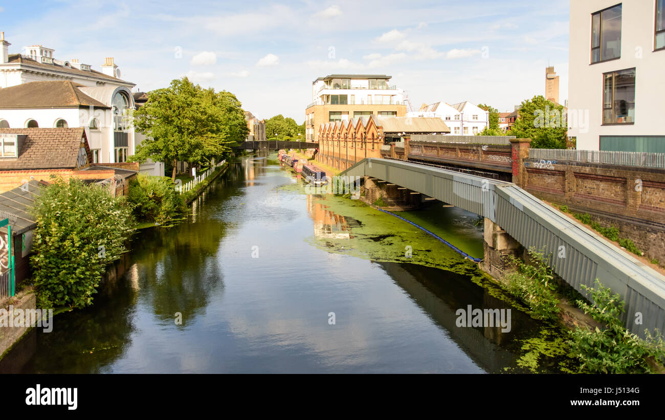 The Grand Union Canal at Ladbroke Grove in west London. Stock Photo