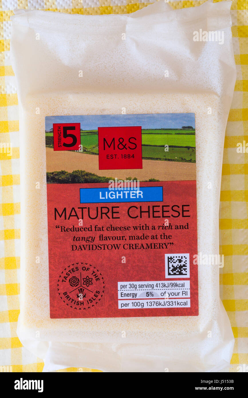 Pack of M&S lighter Mature Cheese, reduced fat cheese with a rich and tangy flavour made at the Davidstow Creamery - Stock Image