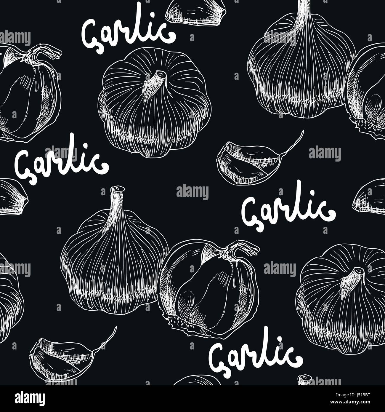 illustration with garlics - Stock Vector