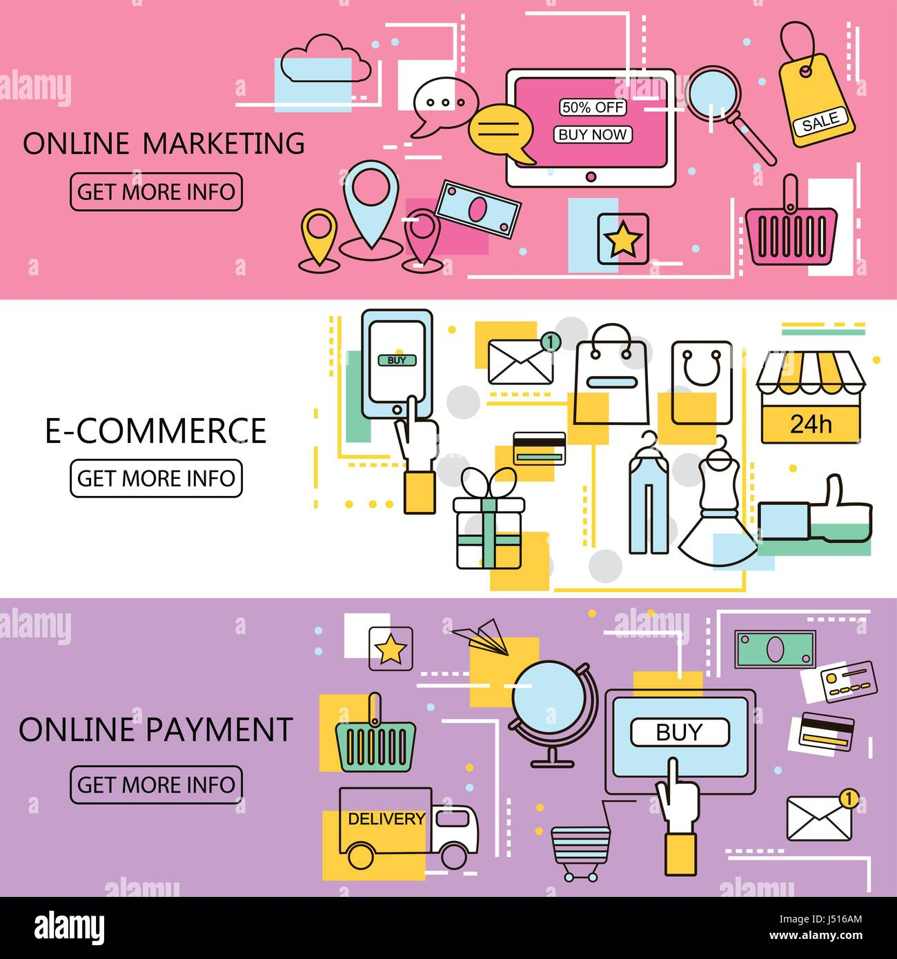 Ecommerce Marketing Banners Professional Education Banners