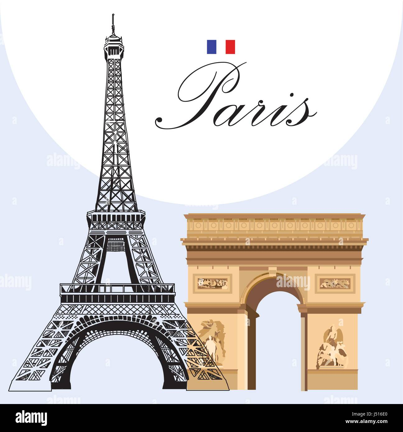 Vector image Eiffel tower hand drawing in black and colorful Triumphal Arch - Stock Vector