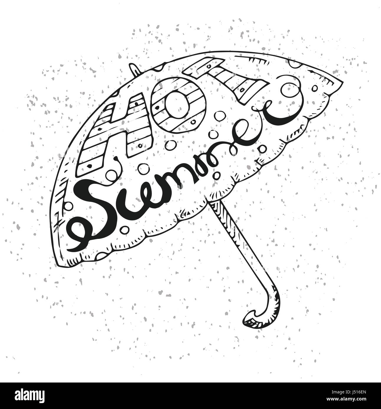 Hipster Hand Drawn Umbrella with Inscription 'Hot Summer'. Vector printable Typography For Posters, Flyers, - Stock Vector