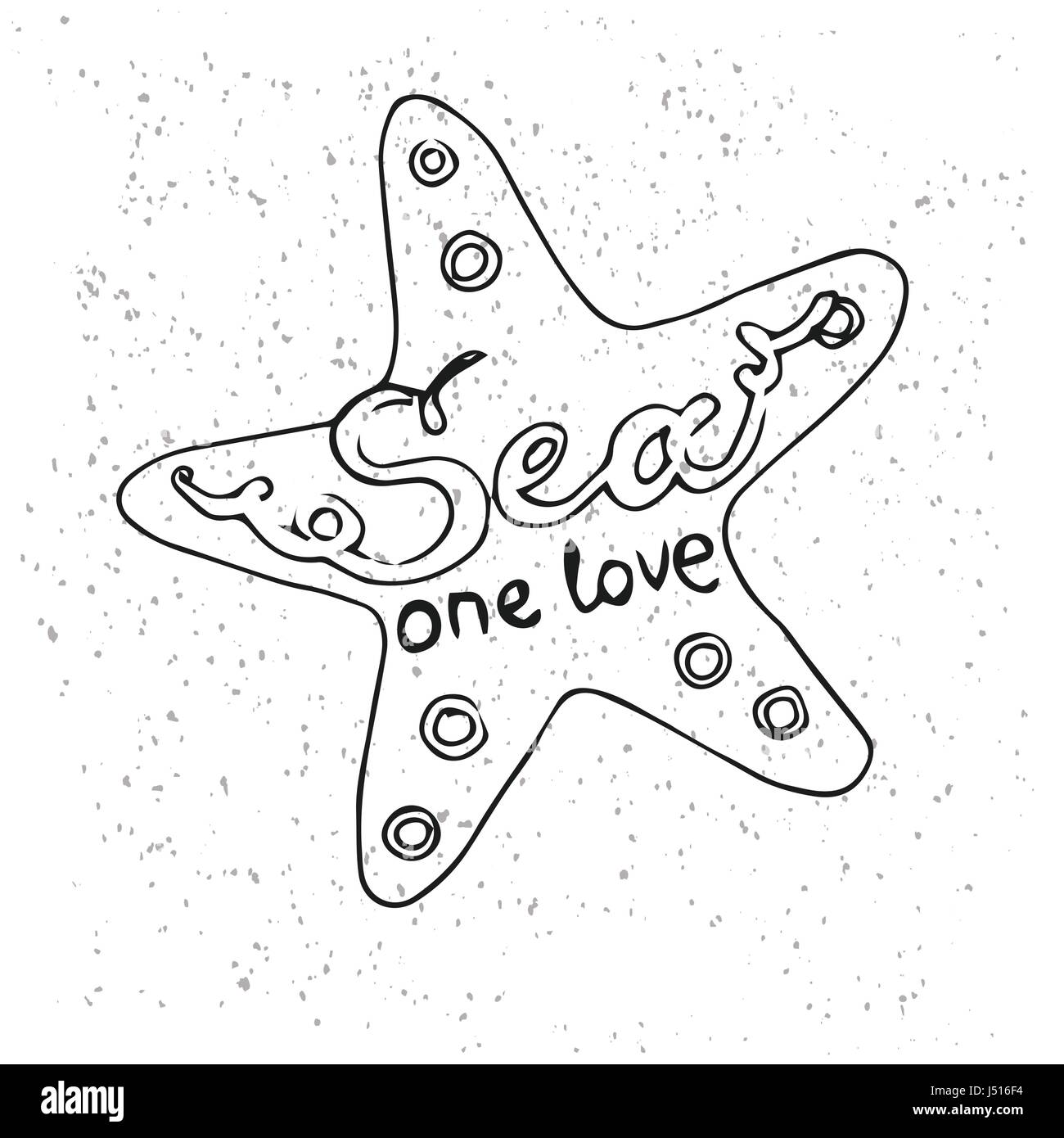 graphic about Printable Starfish named Hipster Hand Drawn Starfish with Inscription \