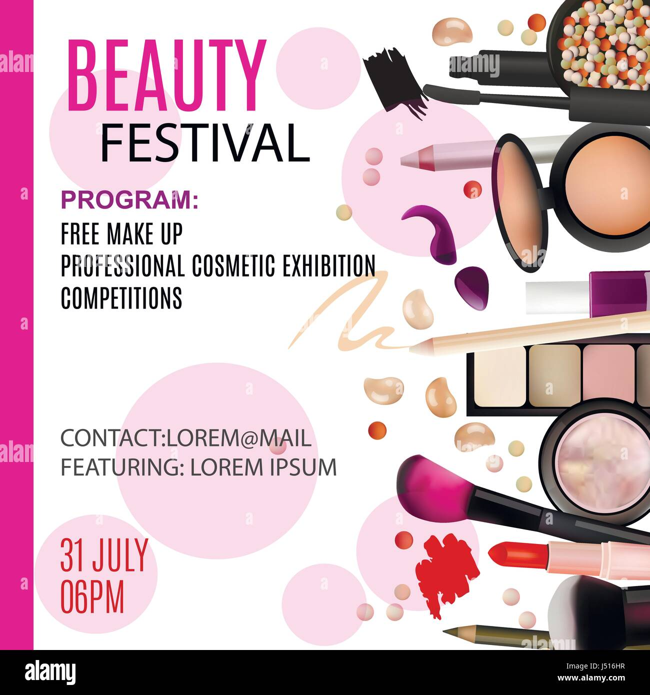 Beauty Festival Poster Design Cosmetic Products Professional Make Stock Vector Image Art Alamy