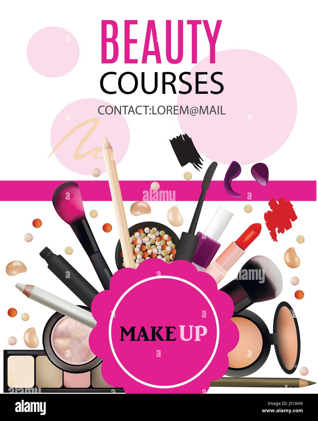 beauty courses poster design cosmetic products professional make
