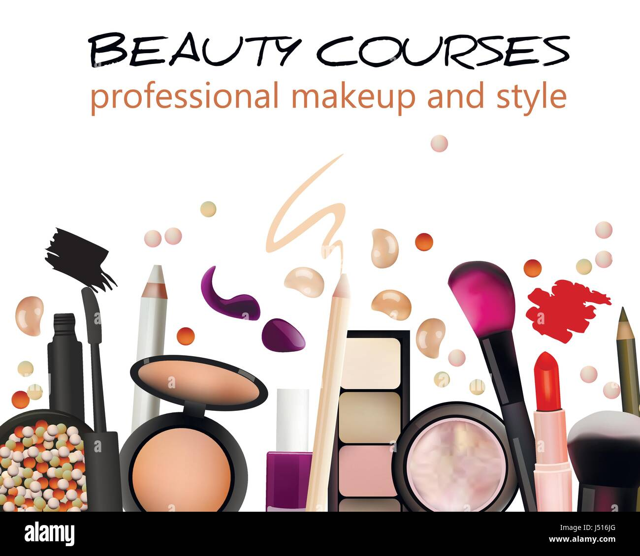 Beauty Courses Poster Design Cosmetic Products Professional Make Stock Vector Image Art Alamy