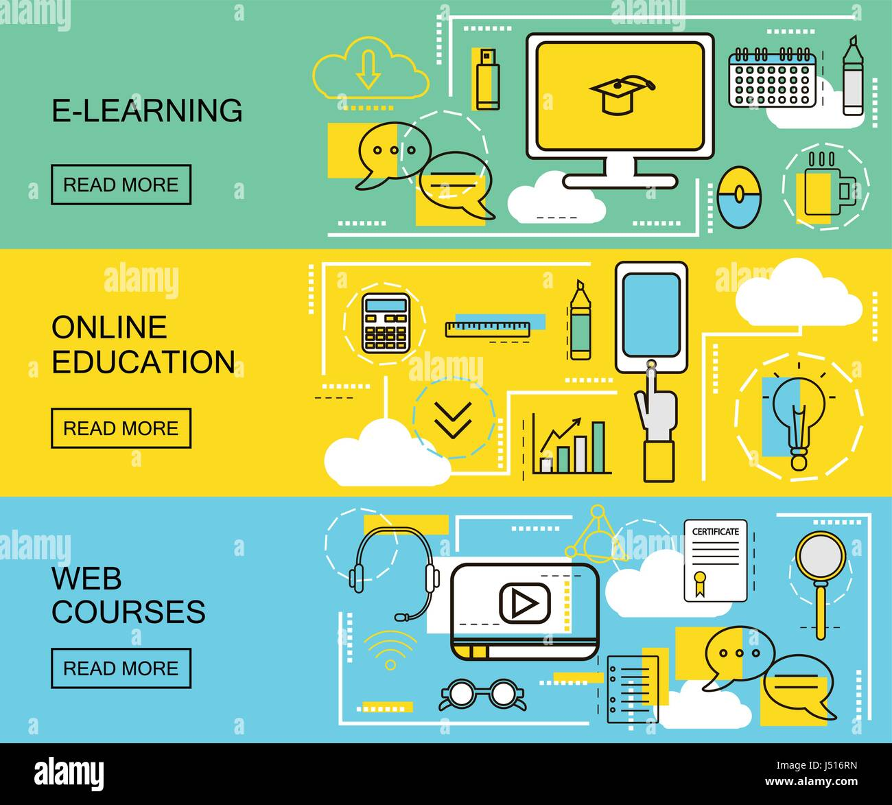 E Learning Online Education And Web Courses Horizontal Banners Stock Vector Image Art Alamy