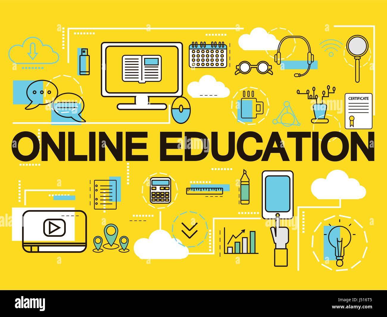 Online Education Banner Concept E Learning Thin Line Icons Vector Stock Vector Image Art Alamy