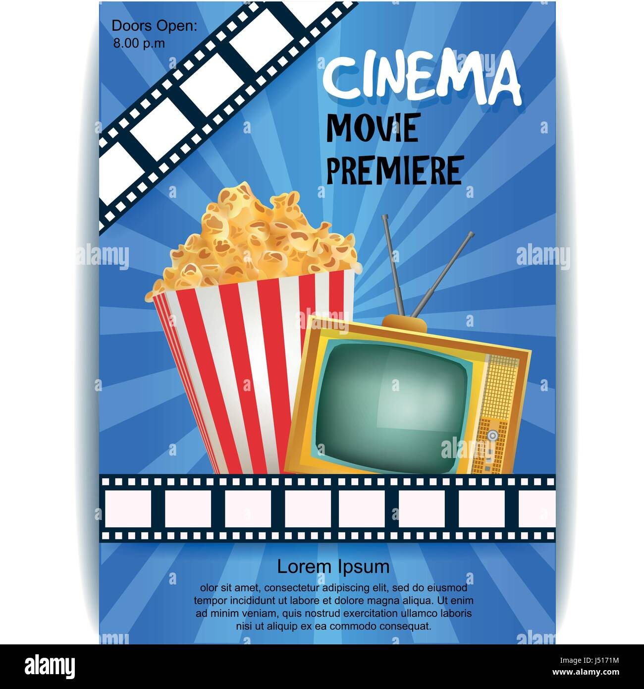 Realistic Cinema Poster Movie Premiere Template Banner With Tv