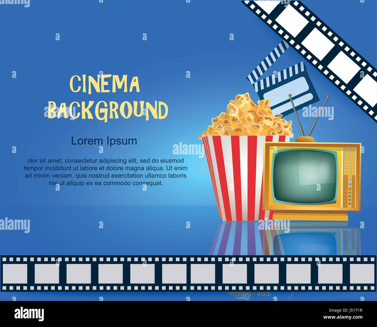 Realistic Cinema Background Movie Premiere Poster Template Banner With TV Popcorn Clapper And Film Vector Detailed Illustration On Blue Backgroun