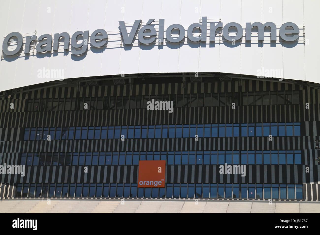 Orange Vélodrome Stadium in Marseilles - Stock Image