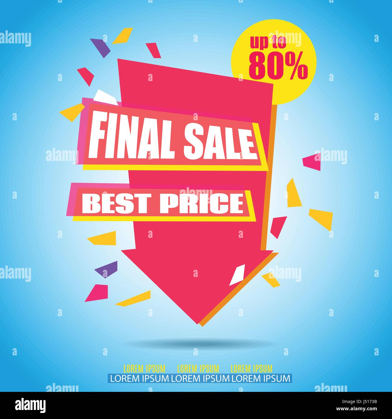 Final Sale Arrow Banner Design.  Vector Sale Illustration for Promotional brochure,booklet,poster, shopping flyer, - Stock Vector