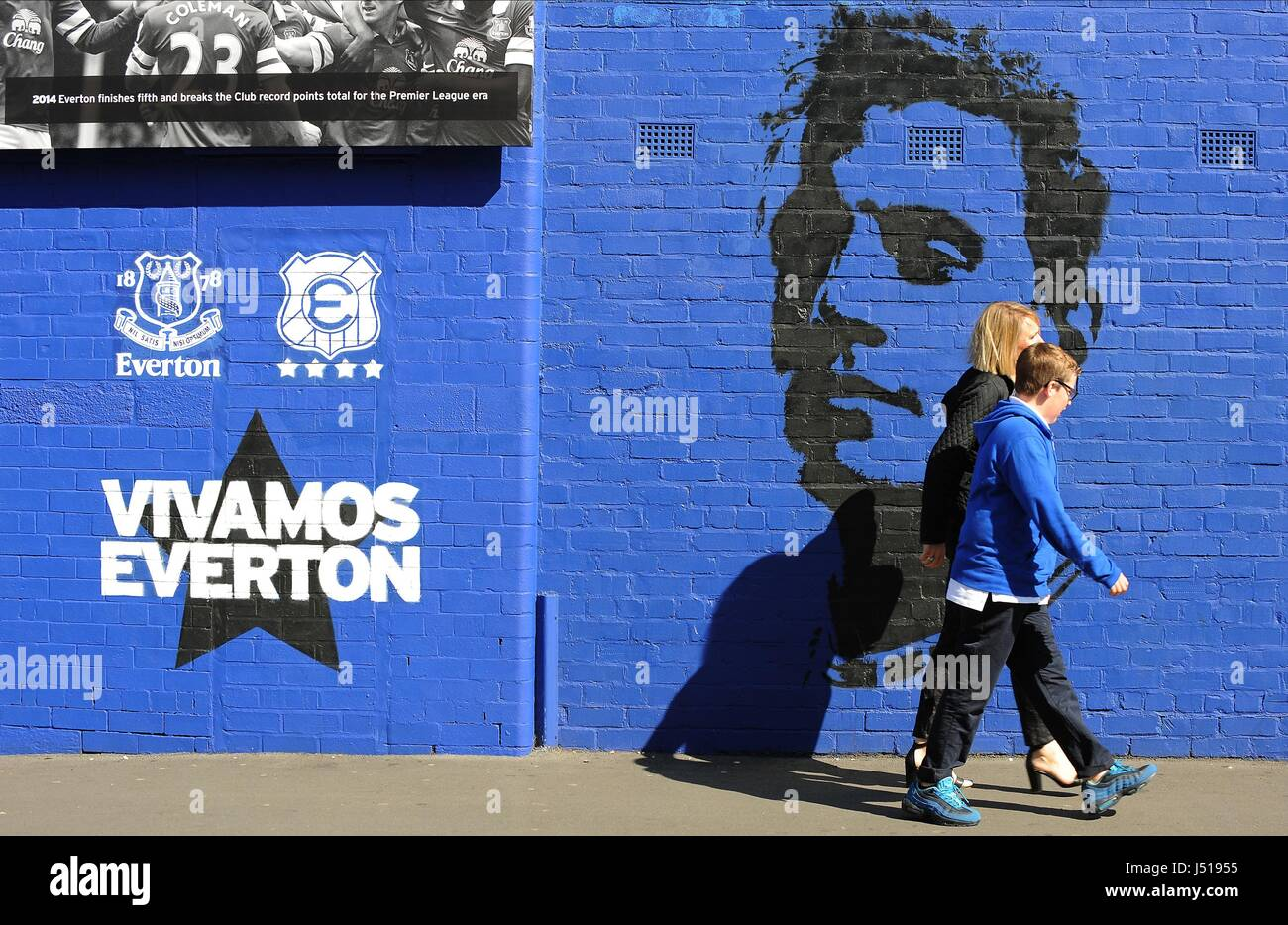 WALL MURAL GOODISON PARK GOODISON PARK GOODISON PARK EVERTON ENGLAND 23 August 2014 Stock Photo