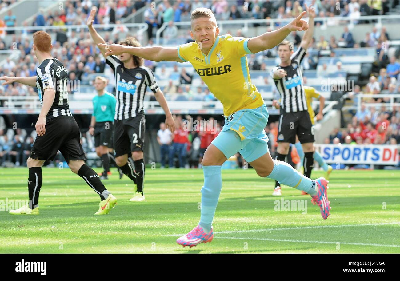 DWIGHT GAYLE CELEBRATES GOAL NEWCASTLE UNITED FC V CRYSTAL ST JAMES PARK NEWCASTLE ENGLAND 30 August 2014 - Stock Image