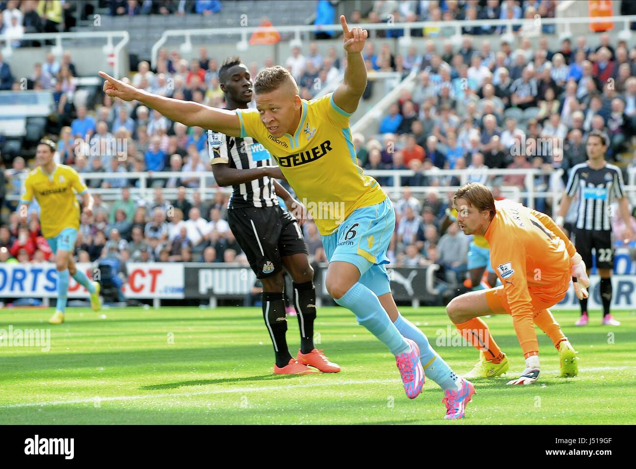 DWIGHT GAYLE SCORES NEWCASTLE UNITED FC V CRYSTAL ST JAMES PARK NEWCASTLE ENGLAND 30 August 2014 - Stock Image