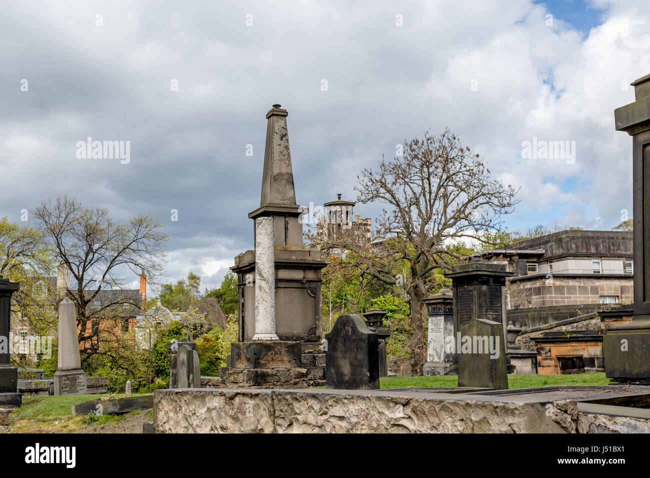 The Old Calton Burial Ground and the Dugal Stewart Monument on Calton Hill in the distance, Edinburgh, Lothian, Stock Photo