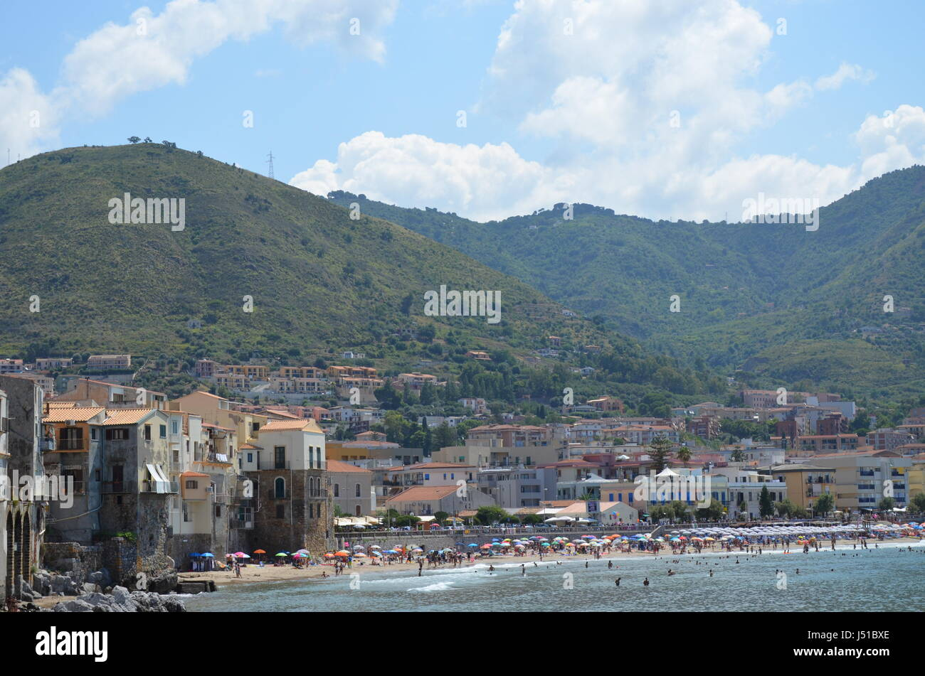 Panorama of the town Cefalu, Sicily, Italy Stock Photo