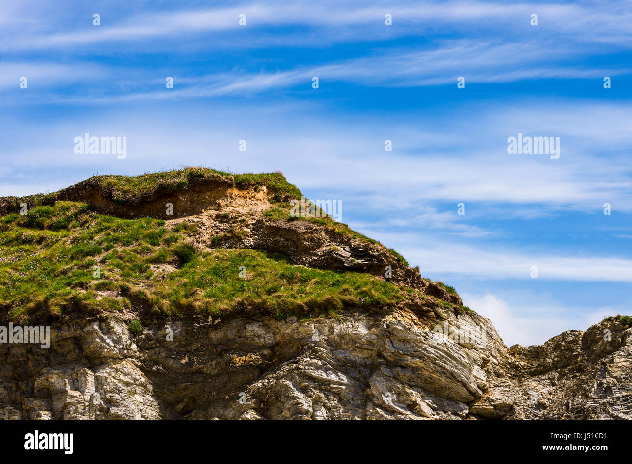 Abstract section of Cliff tops along the South West Coastal Path in Cornwall Stock Photo