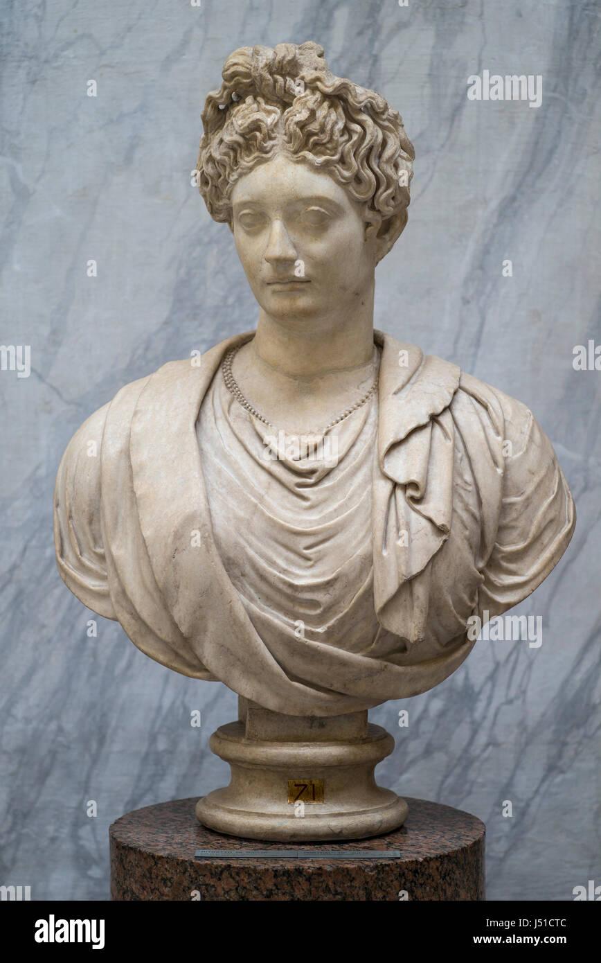 Rome. Italy. Portrait bust (79-81 A.D) of Julia Flavia (64-91 A.D), daughter of Titus, Braccio Nuovo, Museo Chiaramonti, - Stock Image