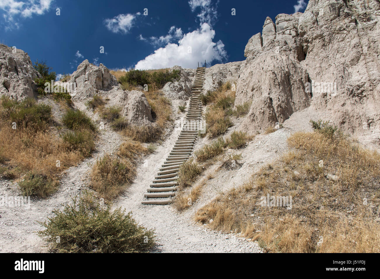 The Notch Trail showing a ladder in Badlands National Park, South Dakota, USA. - Stock Image