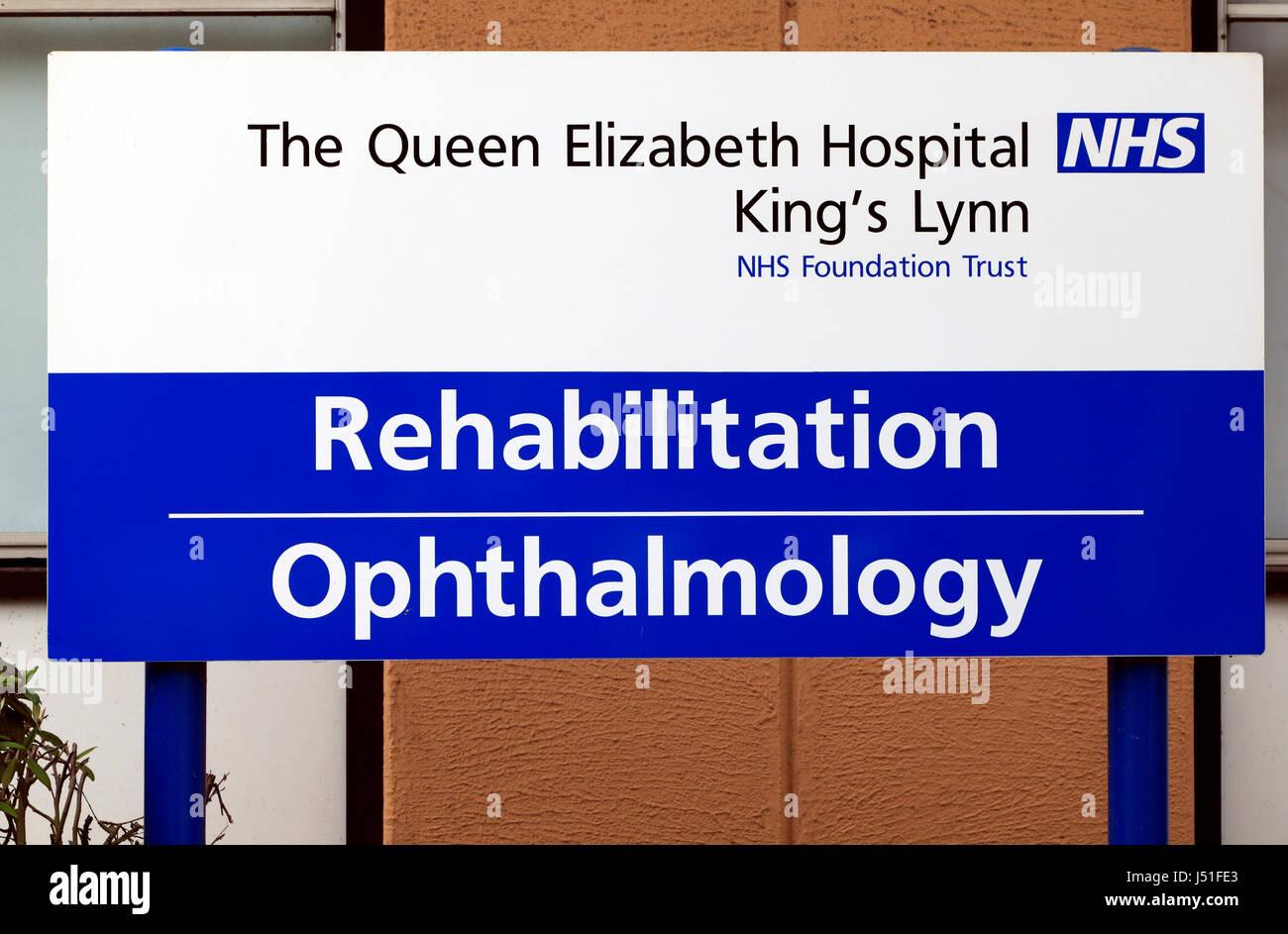 NHS Hospital, Rehabilitation, Ophthalmology department, Queen Elizabeth Hospital, Kings Lynn, Norfolk England UK - Stock Image